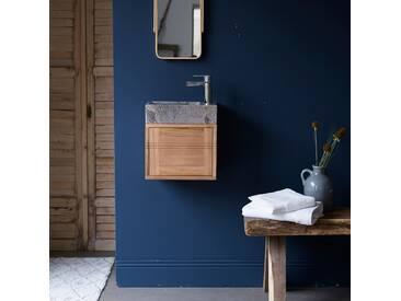 Badunterschrank Teak mit Marmor Waschbecken Basic grey