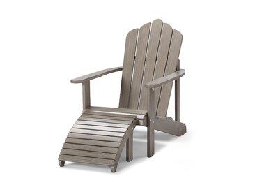 Lounge-Sessel mit separatem Fußteil - grau - Massivholz - Tchibo