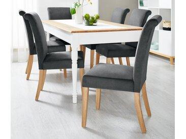 Gespolsterter Esszimmer-Stuhl mit Stoffbezug - braun - Massivholz - Tchibo