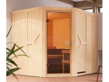 Karibu-Sauna »Avery« mit Eckeinstieg - braun - Massivholz - Tchibo