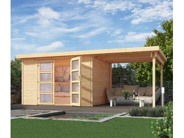 WEKA Massivholz-Gartenhaus mit Flachdach und Anbau - grau - Massivholz - Tchibo