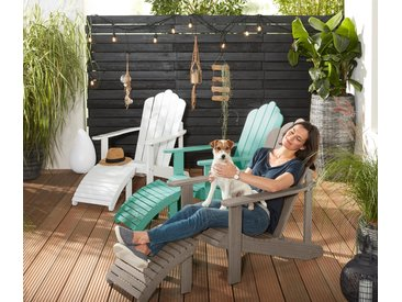 Lounge-Sessel mit separatem Fußteil - grün - Massivholz - Tchibo