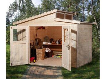 WEKA-Gartenhaus mit versetztem Satteldach - grau - Massivholz - Tchibo