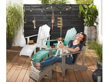 Lounge-Sessel mit separatem Fußteil - Weiß - Massivholz - Tchibo
