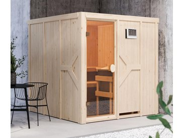 Karibu-Sauna »Taylor« mit Fronteinstieg. inkl. 9-kW-Ofen »Finnisch« - braun - Massivholz - Tchibo