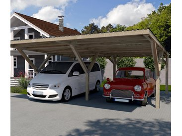 WEKA-Y-Doppel-Carport mit Flachdach - braun - Tchibo