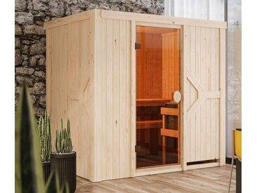 Karibu-Sauna »Harper« mit Fronteinstieg - braun - Massivholz - Tchibo