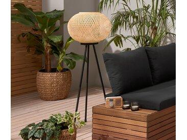 LED-Stehleuchte »Dreibein« mit Bambusgeflecht - weiß - Tchibo