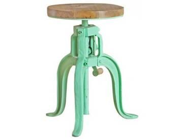 Industrial Hocker Barhocker höhenverstellbar mit Kurbel Drehhocker Vintage retro Mint Grün