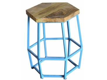 Industrial Barhocker Hocker Hexi light blue Retro Metall Holz Vintage
