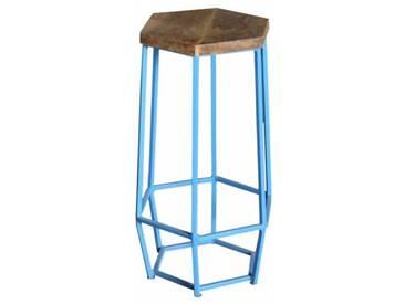 Industrial Barhocker Hexa light blue Retro Metall Holz Shabby Vintage
