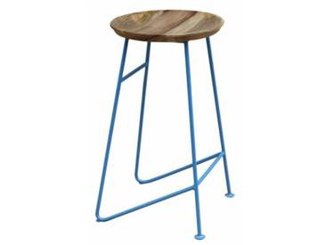 Design Barhocker Louis Retro Metall Holz Industrial Vintage light blue