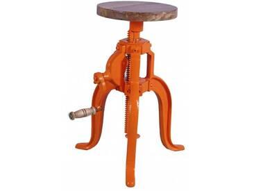Industrial Hocker Barhocker höhenverstellbar mit Kurbel Drehhocker Vintage retro Orange