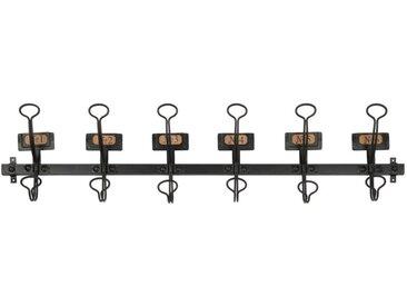 Garderobenleiste mit 6 Haken aus schwarzem Metall