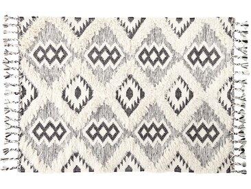 Gewebter Jacquard-Teppich in Schwarz und Weiß mit Shaggy-Effekt 140x200