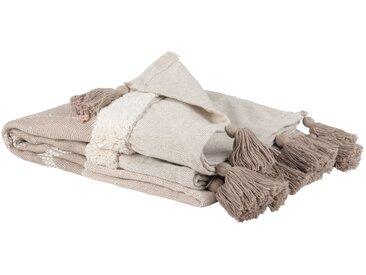 Decke aus Baumwolle mit Quasten, rosa und naturweiß 130x170