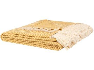 Decke aus Baumwolle und Bambus mit Fransen, gelb und ecru, 160x210