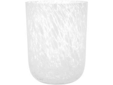 Windlicht aus Glas mit Marmor-Optik, weiß