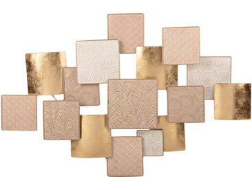 Wanddeko aus Metall, goldfarben, Weiß und Rosa 76x60