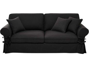 Ausziehbares 3-/4-Sitzer-Sofa aus Baumwolle, schiefergrau, Matratze 6 cm Butterfly