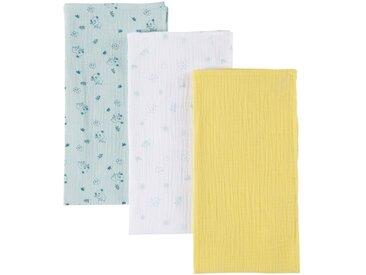 3 Babywindeln aus Baumwolle, gelb, weiß und blau mit Druckmuster