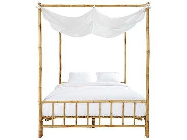 Himmelbett aus Bambus und weißem Stoff, 160 x 200 Coconut