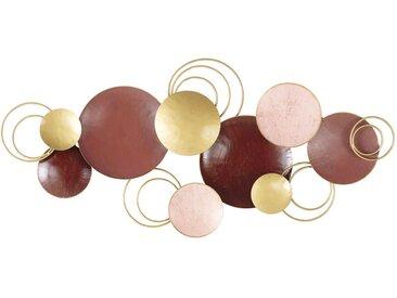 Wanddeko aus Metall in den Farben Bordeaux, Rosa und Gold 130x60