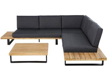 4-5-Sitzer Gartensitzgarnitur aus Aluminium und massivem Akazienholz Bahamas