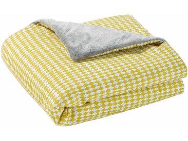 Babydecke aus Baumwolle gelb/grau 75 x 100 cm GASTON