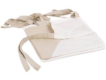 Baumwoll-Vorhang mit Bindeschlaufen, taupe und weiß, 105x250, 1 Vorhang