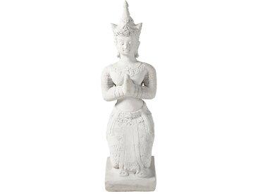Figur Buddha aus Zement, weiß in Antikoptik, H101