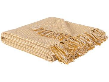 Decke aus Baumwolle mit Fransen, gelb 160x120