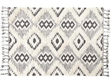 Gewebter Jacquard-Teppich in Schwarz und Weiß mit Shaggy-Effekt