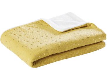 Babydecke aus Baumwolle, zweifarbig mit goldenen Pünktchen 75x100