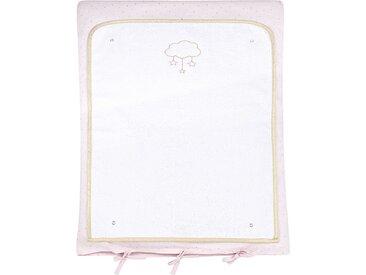 Baby-Wickelauflage aus Baumwolle, rosa und ecrufarben