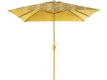Sonnenschirm aus Aluminium und Stoff mit gelben und schwarzen Motiven Palavas