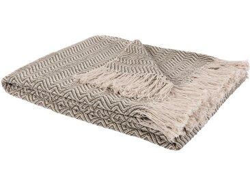 Decke aus Baumwolle mit grafischen Motiven, beige 130x170