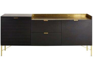 Büffet mit 2 Türen und 2 Schubladen aus massivem Akazienholz, schwarz Jagger