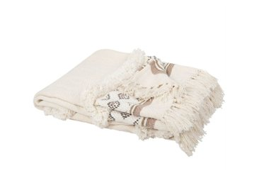 Decke aus Baumwolle mit Fransen, beige und naturweiß 130x170