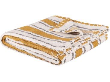 Decke aus Baumwolle mit senfgelbem Streifenmuster 160x120