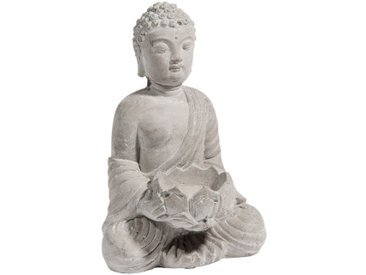 Buddha-Windlicht SERENITE aus Zement, H 19 cm