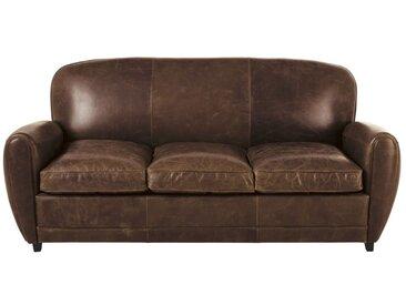 3-Sitzer-Schlafsofa im Vintage-Stil, aus Leder, braun Oxford