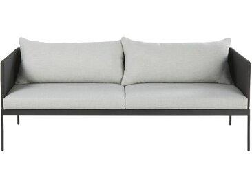 Gartensofa mit 2/3 Sitzen aus schwarzem laminiertem Segeltuch und grauem Segeltuch Avola