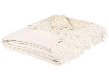 Decke aus Baumwolle mit Pomons, naturweiß und gelb 160x210
