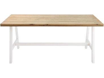 Gartentisch für 6-8 Personen aus Akazienholz und weißem Metall, L180 Countryside