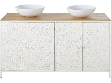 Waschtisch mit 2 Waschbecken und 4 Türen aus Mangoholz und weißem Metall mit Schnitzereien Kaloa