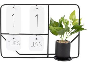 Kalender-Skulptur aus schwarzem Metall und künstliche Pflanze
