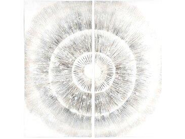 Diptychon auf Leinwand, beige und grau 80x80