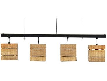 Hängelampe im Industriestil aus 4 Spots schwarzem Metall und Mangoholz