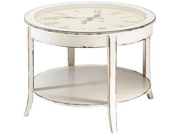 Runder Couchtisch aus Glas und Holz mit Uhr D72, weiß antik Teatime Teatime